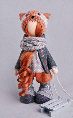 Winter doll toy Tilda doll Decor doll Art doll fox grey colors Decor doll Soft…