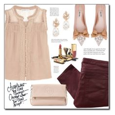 """""""Nude/Maroon Spring Outfit"""" by lifestylepretty ❤ liked on Polyvore featuring Chelsea Flower, Helmut Lang, Slate & Willow, Miu Miu, Dolce&Gabbana and Tory Burch"""