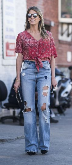 Bandana print top and distressed wide-leg jeans
