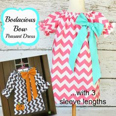 Bodacious Bow Peasant Dress with short, 3/4 and long sleeves PDF sewing pattern nb-12 girls | YouCanMakeThis.com