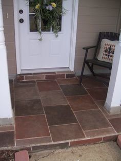 patio floor, I taped thisoff with auto pinstrip the used left-over paint and craft paint to add the faux slate/tile colors. I finished it with an oil based wood stain I have had this since last summer and i plan on reposting the other additions, , Patios & Decks Design