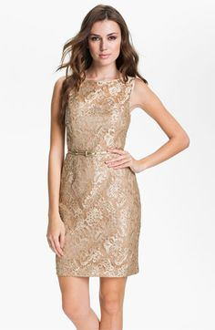 Maggy London Back Cutout Metallic Lace Sheath Dress available at #Nordstrom
