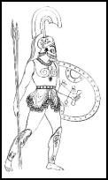 Greek battle dress, greaves, tunic and helmet with horsehair crest. -->> greaves as boot tops?