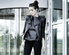COTTDS (perforated leather top: H, leather jacket: ZARA, black jeans: Cheap Monday, canvas boots: Isabel Marant)