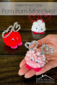 Mia's class loved making these.   Make these adorable Valentine's Day pom pom monsters in just a few minutes! Great Valentine's Day craft for kids!