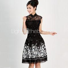 Vestito Da donna Taglie forti Vintage / Casual Con stampe Al ginocchio Colletto alla coreana Cotone / Pizzo - EUR €26.45