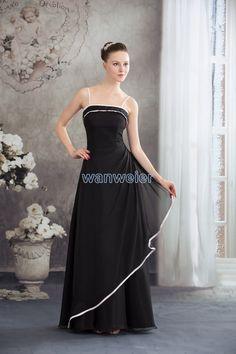 cfdefc4c817d Chiffon Black Sheath slingss Floor Length Bridesmaid Dress(ZJ6063) Ruffles Bridesmaid  Dresses, Affordable