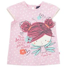 Souris Mini - Spotted jersey T-shirt - 74302 Baby Girl Fall Outfits, Kids Outfits, Girls Blouse, Little Fashionista, Kids Prints, Baby Costumes, Summer Kids, Kids Wear, Shirts For Girls