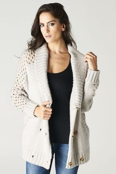 Double Breasted Relaxed Sweater with Diamond Knit Sleeves.