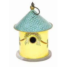 Features:  -Birdhouse.  -Made of iron and wood.  -With a decorative vine and floral trim.  Product Type: -Birdhouse.  Mount Type: -Hanging.  Style: -Cottage.  Color: -Yellow; Blue.  Material: -Metal/W