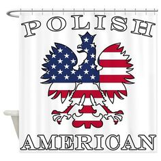 Polish American Flag Eagle Shower Curtain by Polish_Heritage - CafePress American Flag Eagle, American Symbols, Custom Shower Curtains, Fabric Shower Curtains, Polish Eagle Tattoo, Polish Symbols, American Tattoos, Shower Rod, All Fonts