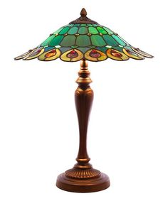 Green Stained Glass Geometrical Table Lamp