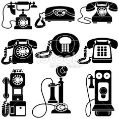 vintage telephones black and white   Royalty Free Stock Vector Art Illustration