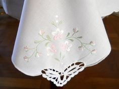 vintage embroidered tablecloth pink floral tablecloth vintage white tablecloth pink embroidered tablecloth via Etsy