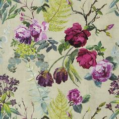 tulipani - linen wallpaper | Designers Guild common area possibility