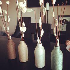 yarn wrapped beer bottles DIY