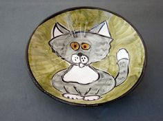 Little cat bowl. Slab Roller, Earthenware Clay, Cat Mug, Cat Gifts, Swirls, Grey And White, Cat Lovers, Cat Magazine, Cat Bowl