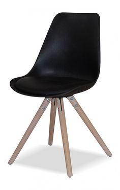 Canvas Studios Pandrup eetkamerstoel zuiver zwart / eiken