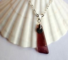Tumbled Glass Pendant Necklace Silver Charm Reclaimed by Hendywood