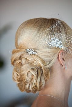 Braided updo and crystal hair accessories for vintage bridal look (Melissa Musgrove Photography)