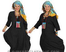 SUNHEART KABUKI black DRESS bohemian Hippie One Size fits Sml-Med-Large-xl-1x-2x-5x