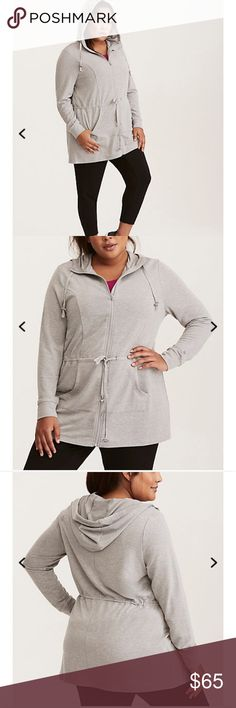 Torrid Active Anorak Jacket NWT The perfect jacket for your cool-down, this anorak style can go from gym to grocery shopping afterwards. Heather grey French Terry lends a lightweight and buttery-soft feel to the longer-line style. The zip front and hoodie are functional - but cute - elements with a drawstring waist lending figure-flattery. Torrid sz 3 torrid Jackets & Coats