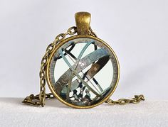 ASTRONOMICAL SUNDIAL Globe Pendant Astronomy Necklace Aqua Bronze Astrological Vintage Astronomy Science Jewelry, Not an Actual Sundial