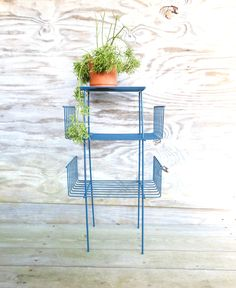 sturdy wire MCM shelves in midnight blue stands tall bottom shelves are wide top is 10 square deep excellent condition and a unique size Garden Rack, Metal Plant Stand, Outdoor Chairs, Outdoor Decor, Midnight Blue, Wire Racks, Mid Century, Book Shelves, Plants