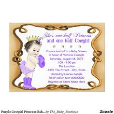 Purple Cowgirl Princess Baby Shower 4.5x6.25 Paper Invitation Card