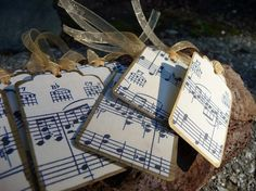 These 12 tags are made from vintage piano music that has been copied onto Heavy Card Stock and then finished with gold trim and ribbon. (Sold on etsy)