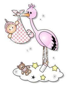 Digital Digi Baby & Stork Stamp by PinkGemDesigns on Etsy Clipart Baby, Baby Stork, Baby Shawer, Storch Baby, Dibujos Baby Shower, Animation Disney, Baby Icon, Shower Bebe, Kawaii Doodles