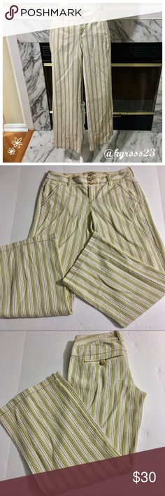 Free People green and white striped pants Colors may vary slightly to lighting and photos. No holes, rips or stains. Measurements approximately as shown. ❌Smoke and pet free home. ⚡️Same/next day shipping. 💲Save by bundling or make a reasonable offer through the offer button. 🚫No trades or modeling. 📦Wrapped and shipped with care. 🎁Includes free gift. Free People Pants