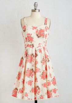Wait a Prosecco Dress - Daytime Party, Mid-length, Woven, Multi, Pink, Floral, Print, Vintage Inspired, 50s, Fit & Flare, Sleeveless, Better