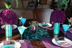 blue and purple tablescape