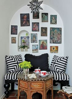 love the mix of morrocan and the Hermes cup and saucers... mixed in with Icons and black and white