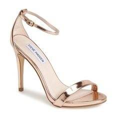 """Steve Madden 'Stecy' Sandal, 4"""" heel ($80) ❤ liked on Polyvore featuring shoes, sandals, rose gold, neon high heel sandals, ankle wrap sandals, ankle strap sandals, rose gold sandals and neon heel sandals"""
