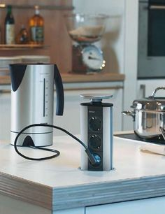 EVOLine Port Countertop Pop Up Receptacle. A Few Of These Would Clean Up  The Kitchen Walls.
