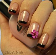 LOVE the black french manicure and the flower!