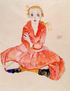 Egon Schiele, Seated Girl Facing Front, 1911