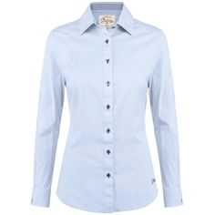 Women's Dubarry Carnation Blouse ($92) ❤ liked on Polyvore featuring tops, blouses, blue checked shirt, long sleeve button shirt, embroidered shirts, long sleeve tops and blue button shirt