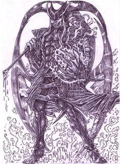 Jedah Dohma DarkStalkers - Black Pen Version by ForeverZeroDragon on DeviantArt
