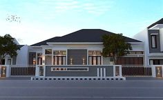 Desain Rumah Minimalis Terbaru Type 45 Dengan Pagar Rumah Minimalis House Fence Design, Fence Gate Design, Modern House Design, Dream House Exterior, Dream House Plans, Type 45, Compound Wall Design, Asian House, Modern Bungalow House