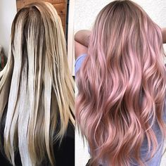 """Rose Blush Balayage From bright blonde to pretty in pink—we are obsessed with this blushing balayage by Kelly Massias ( We're dishing out all the deets, so you can recreate this """"rosé all day"""" haircolor on all of your cool-girl clients. Blond Rose, Blonde With Pink, Bright Blonde, Blonde Color, Blonde Highlights, Pink Blonde Hair, Pastel Pink Hair, Dusty Pink Hair, Color Highlights"""