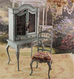 1:12th scale miniature distressed French secretary and chair ...  by Gerry's Minis