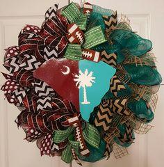 University of South Carolina,  Coastal Carolina University  divided house deco mesh wreath