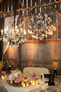 chandelier and babies breath wreath