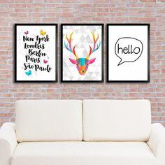 Kit de Quadros Decorativos Evelyn. Posters e Quadros Decorativos. Mais de 1000 opções em produtos incríveis para a decoração da sua casa!