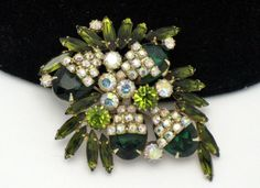 ALICE CAVINESS Olivine Aurora Borealis Rhinestone Brooch Pin from atouchofrosevintagejewels on Ruby Lane