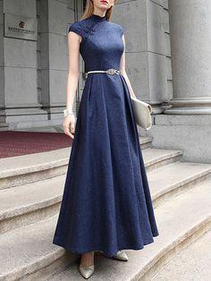 Vintage Short Sleeve Crew Neck Polyester A-line Maxi Dress