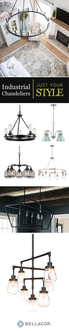 When you are looking to make your room feel a little more down to earth, consider using an industrial styled chandelier. This lighting works perfectly in a bedroom, bathroom, closet, kitchen dining or living room. Love the items in this image? Go to bellacor.com and search for the following: 1598691, 1715373, 1651153, 1217631, 1217631, 1714088, 1602993